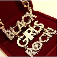 Fashion punk girl character letter necklace high quality free shipping accessories wholesale in Europe and America