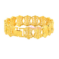 Womens Ladies 16mm Beauty 24K Yellow Gold Filled Solid Bracelet Bangles Chain Fashion Openable Jewelry Drop Ship