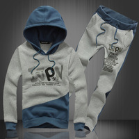 Autumn and winter Korean men's pullover sweater stitching letters printed track suit fashion men's casual jacket bag even M-XXXL