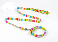 Rainbow color canvas dog collar leash set puppy pets lead S M L