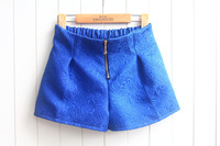 Autumn New 4 Colors Womens embossing Shorts High waist zipper slacks shorts MINI Flare shorts pants Free Shipping