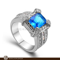 New! Vintage in Fashion Jewelry Blue Topaz 925 Sterling Silver women's Ring R1072