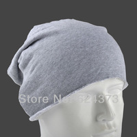 Gray Beanie Skull Cap Hat Cotton No-overlock