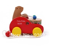 Free Shipping!!Baby Wooden POKO BEAR car help kid to walk Educational Children Wooden Toys Children Early Learning Toys