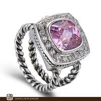 New! Vintage in Fashion Jewelry Pink Kunzite Quartz 925 Sterling Silver Women's Ring R1210