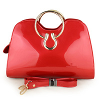 Exquisite 2013 luxury handbag solid color red bridal bag marry bag patent leather women's japanned leather handbag