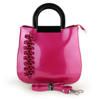 free shipping 2013 handbag messenger bag fashion flower fushia rose japanned leather patent leather female bags