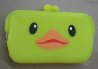 Cute duck style candy color silicne coin bag mobile phone bag coin purse silicone storage bag free shipping