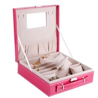 New item,Fashion jewellery box case multideck excellent hanging jewelry organizer leather handles free shipping