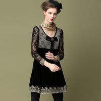 Velour Lace Embroidery Bead Women Vintage Europe Palace Style Dress With Bow Plus Size L XL XXL 3XL 4XL 5XL Free Shipping