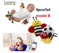 Free shipping New arrival Lamaze baby rattle baby toys Garden Bug Wrist Rattle+Foot Socks 4pcs /set