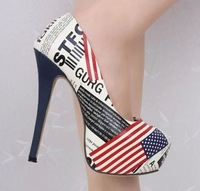 Free shipping pumps for women fashion printing platform shoes Lovers flower american flag14cm high thin heels shoes plus size 43