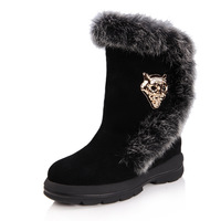 New arrival 2013 rabbit fur tiger head genuine leather snow boots platform comfortable female