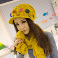 Autumn and winter women's knitted hat winter hat knitted hat scarf