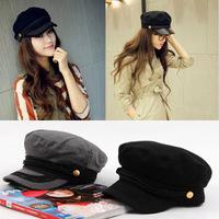 Fashion Women Hat Flat Cap Navy 1pc Captain Cap Wool Texture Beret Hats Fashion Women Hat Free Shipping CL01336