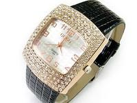 Fashion crystal rhinestone lady watches alligator strap big dial exquisite Dress Wrist watch  wristwatches