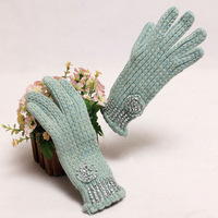 Diamond 2013 lengthen knitted gloves crotch fashion five fingers gloves women's elegant full finger gloves