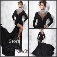 BK-01 2014 Tony Bowls Black Long Sleeve High Neck Crystal Beaded Chiffon Watteau Train Front Spilt Prom Gowns Evening Dresses