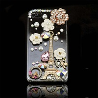 Free Shipping Cool Rhinestone Effiel Flower Tower Crystal  Case for Iphone 4 4S 5 5S 5C