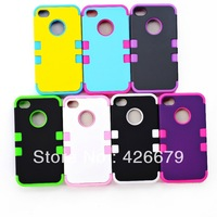 3 in 1 rubber + hard New robot style cover hard soft case for iphone 4 strong protection durable Wholesale DHL 500pcs/lot