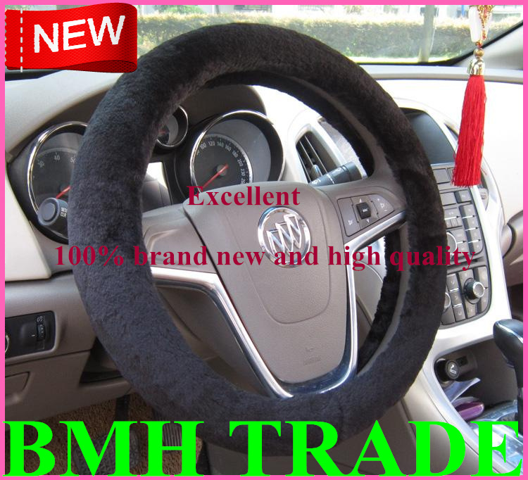 New Arrival&High Quality Excellent Short Plush Car Black Steering Wheel Cover Warm Lined with Rubber Ring Non-slip Freeshipping(China (Mainland))