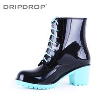 Freeshipping New arrival dripdrop elegant exquisite multicolour high-heeled martin rainboots rain boots