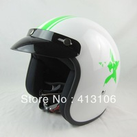 Free shipping/Motorcycle helmet/ Fiberglass material retro helmet/ jet helmet/Top level open face helmet/White green star