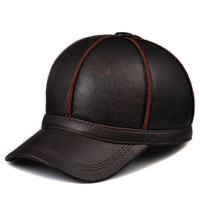2014 New Arrival Hats Baseball Caps Gorras Male Cowhide Leather Genuine Casual Baseball Cap Duck Tongue Thermal Flat Ear Hat