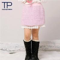 New 2014 sweet lace pink girl skirts,mini girls lace kids skirt,lovely children clothing(TGD1309098)