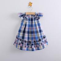 Wholesale 2014 New summer children clothing,baby girls lattice beading casual dress,kid cotton ruffules flower,children clothes