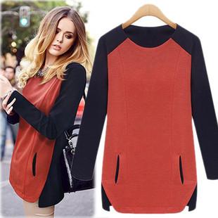 2013 nova moda das mulheres t-shirts clássicas soltas mulheres casuais roupas t-shirt longo para tops mulher senhora vestido vermelho, azul, bege M, L, XL(China (Mainland))