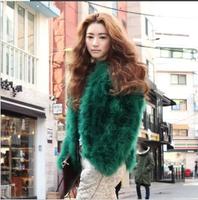 Free Shipping Korean Famous Brand Design Elegant Short Design green Ladies' Ostrich Faux fur coat overcoat(Green+M/L)131117#14