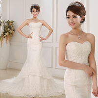 EMS Shipping New Arrival Luxury Lace Fish Tail Wedding Dress Bride Slim Hip Bride Lace Up Big Train Wedding Dress MY-001