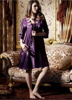Hot Sale Women's long Lace Dress Sexy Silk robe costume Full Slips (Vest+Slip) 2colors Sleepwear Plus Size Fee Shipping