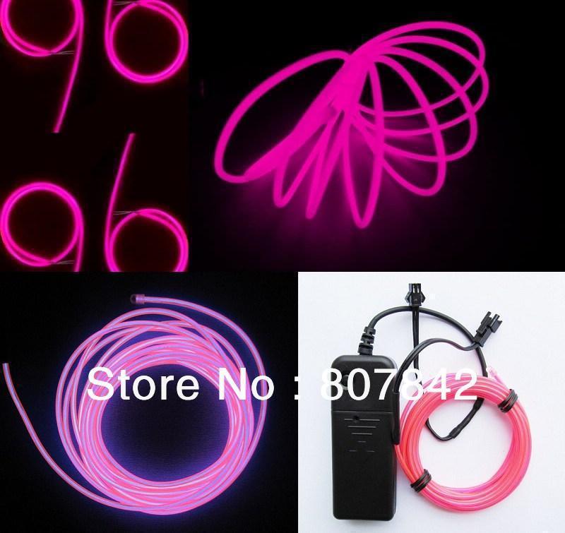 3 M flexível luz Neon fio EL tubo corda com controlador Lemon / vermelho / amarelo / verde / branco / azul / roxo / rosa 10 unidades/lotes grátis frete(China (Mainland))
