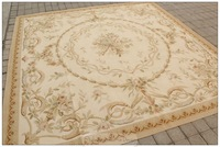 "8'2""  Hand Woven Aubusson Area Rug Antique French Pastel Floor Bedding Decorative Square Carpet Shabby Chic Home Decor"