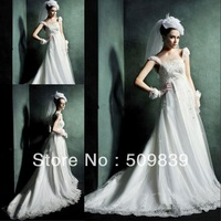 Free Shipping 2014 New Arrival A-Line Cap Sleeve Beaded Appliqued Chapel Train Wedding Dresses forf Pregnant Brides