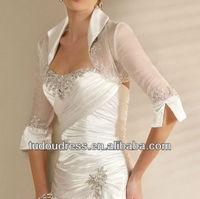 High Neck Half Sleeve Lace Beaded Satin Tulle Bridal Wedding Bolero Jacket Shawl Wrap 2014 Collection Wedding Accessory