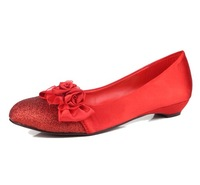 Free shipping The bride wedding shoes red gold wedding shoes low-heeled wedges comfortable maternity bride wedding shoes