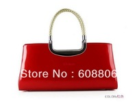 Free shipping new 2013 Korean version of the retro fashion handbags patent leather bag bride bag red
