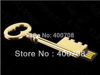 NEW sale !!!Gold key model 2GB 4GB 8GB 16GB 32GBUSB 2.0 Full Memory Stick Flash pen Drive thumb drive 10pcs/lot