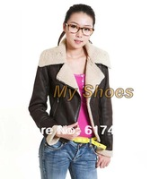 Free Shipping New Fashion Women Leather Jackets Large Lapel Short Design Winter Coats 18418