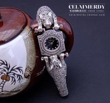Роскошный старинный ручной работы 925 чистого серебра сияющий полный горный хрусталь двойной леопард тайский серебряные часы женский