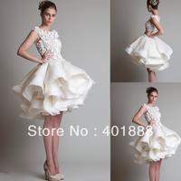 New Arrival Beige Organza Fashion Lace Puffy Sexy Short  Wedding Dress 2013