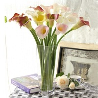 PU Large Floral Calla Finished High Simulation Flower Artificial Flower And Vase Set Home Decoration , Free Shipping
