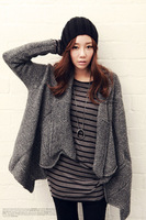 Computer Woven Large Lapel Long-sleeve Women Sweater Cardigan Knitted Cloak, Autumn Winter Lady Fashion Dark Gray Poncho Coat