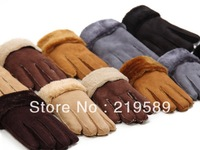 Leather plush winter gloves,  More warmer.