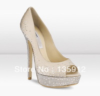Fashion brand drill banquet nude fish mouth high-heeled shoes