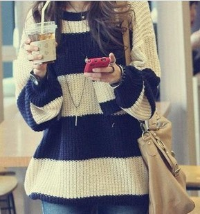 Free shipping 2013 Women's Fashion Striped Pullover Crochet Sweater Casual Plus Size Tops Knitted Jumper For Handsome Maternity(China (Mainland))