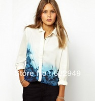 Europe Hot style autumn new fashion women's Blouses Gradient color printing lapel casual long-sleeved chiffon shirt